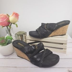 Skechers Black Leather Cork Wedges